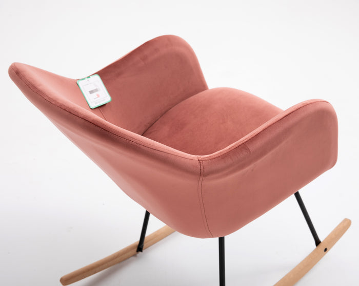 Rosa Velvet Fabric Rocking Chair with solid Beech legs Pink 7