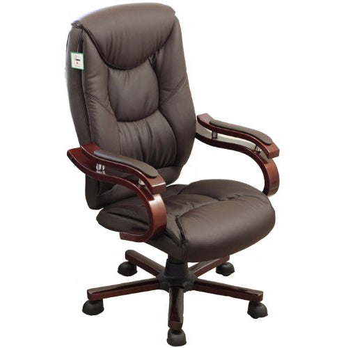 Luxury Wooden Frame Extra Padded Desk Computer Office Chair in Dark Brown