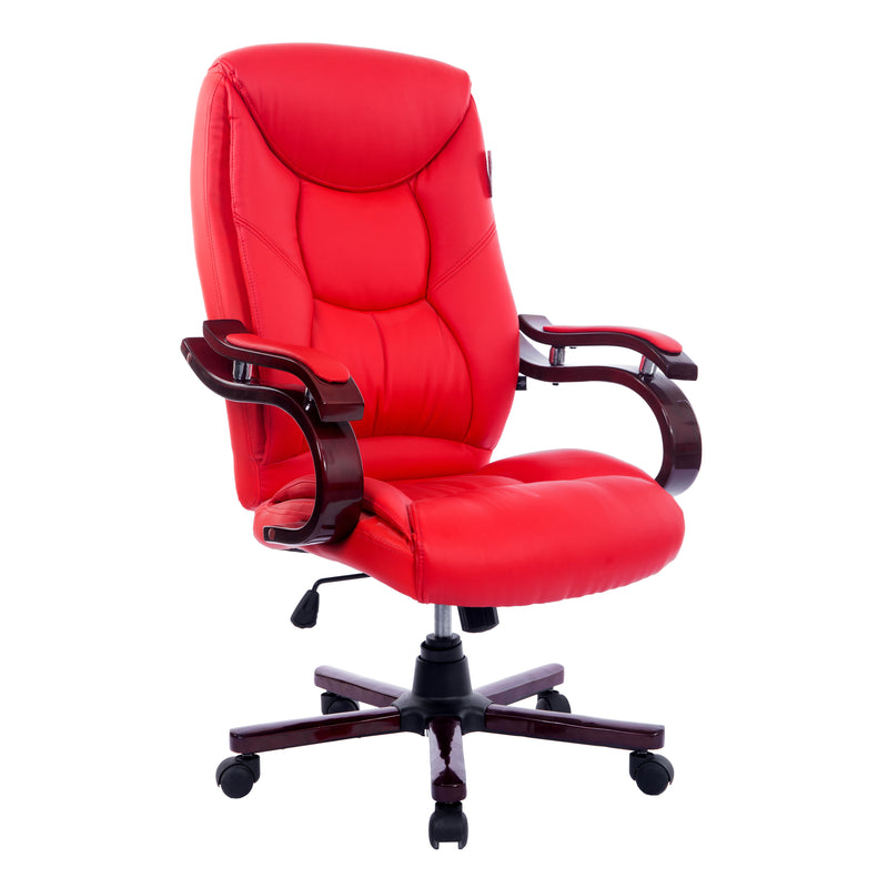 luxury wooden frame extra padded desk computer office chair in red