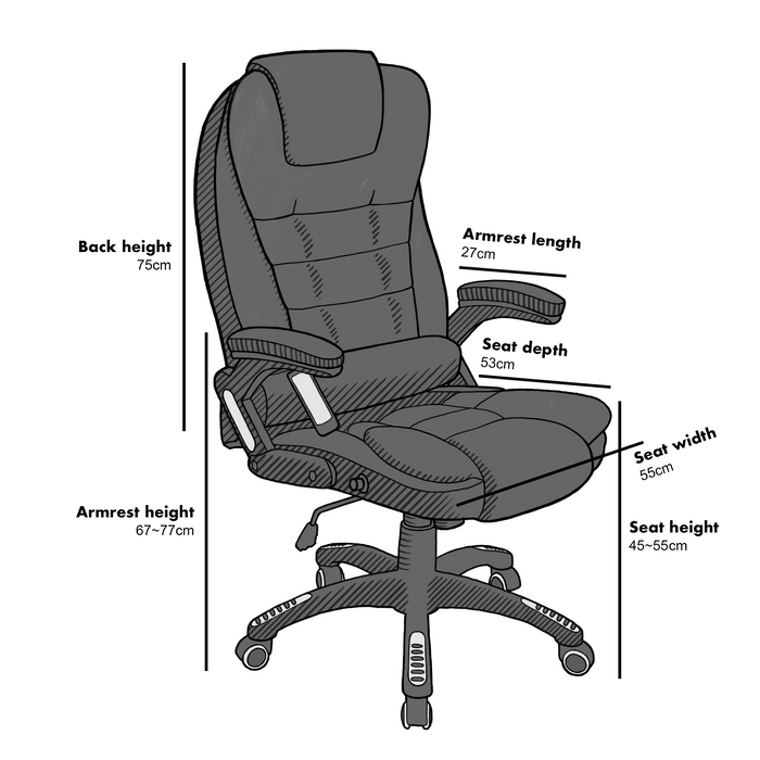 Executive Recline Padded Swivel Office Chair with Vibrating Massage Function, MM17 Black