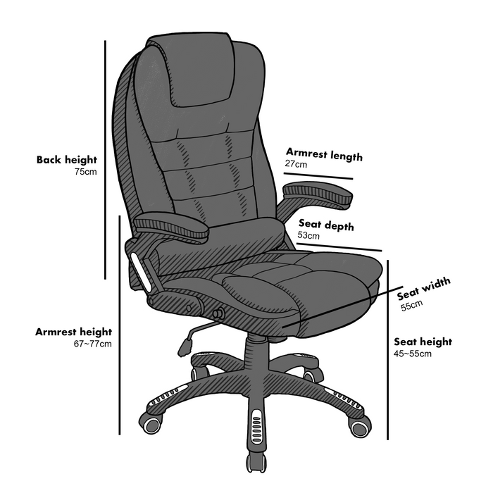 Cherry Tree Furniture Executive Recline Extra Padded Office Chair Standard, MO17 Black Fabric