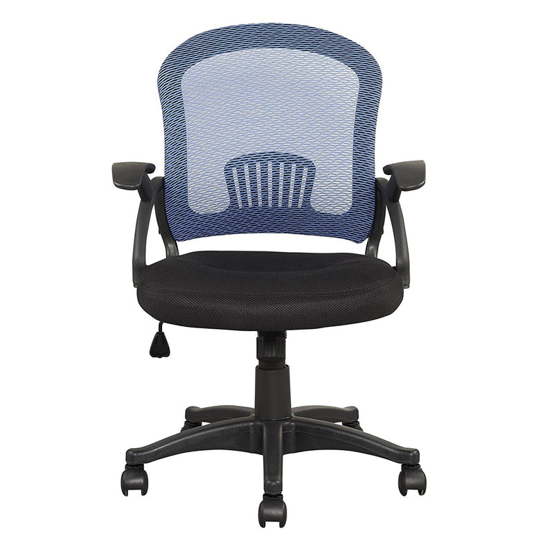 mesh style fabric padded seat office chair blue