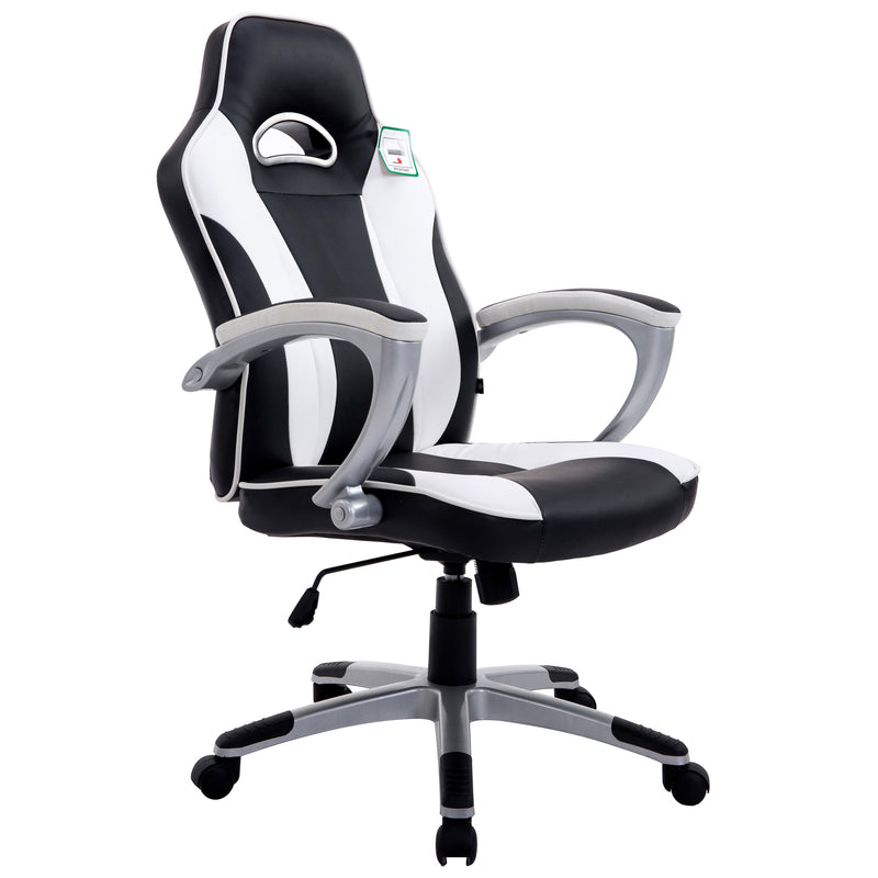 High Back Racing Sport Gaming PU Leather Swivel Chair in Contrasting Colours, White & Black