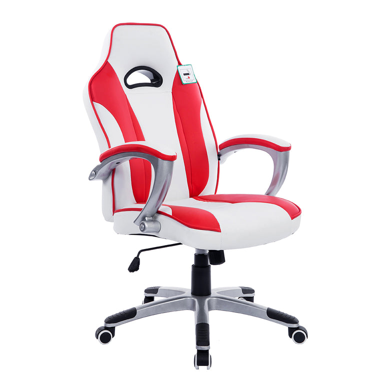 High Back Racing Sport Gaming Computer Office Desk PU Leather Swivel Chair in Contrasting Colours, White & Red