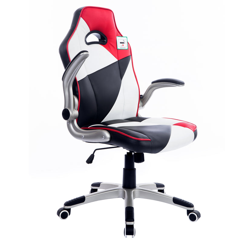 high back racing gaming sport pu leather swivel office chair with folding arms