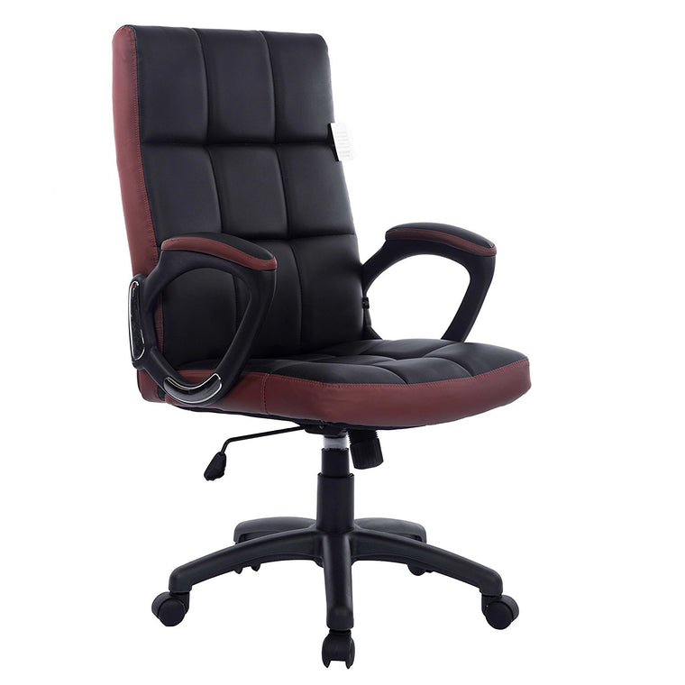 Waffle Contrasting Panels High Back PU Leather Swivel Executive Office Chair, Black & Brown
