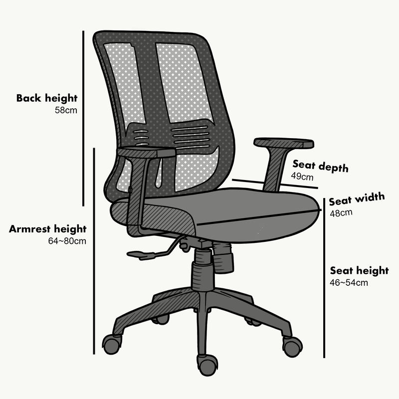Black Mesh Medium Back Executive Office Chair Swivel Desk Chair with Synchro-Tilt, Adjustable Armrests - DaAl's