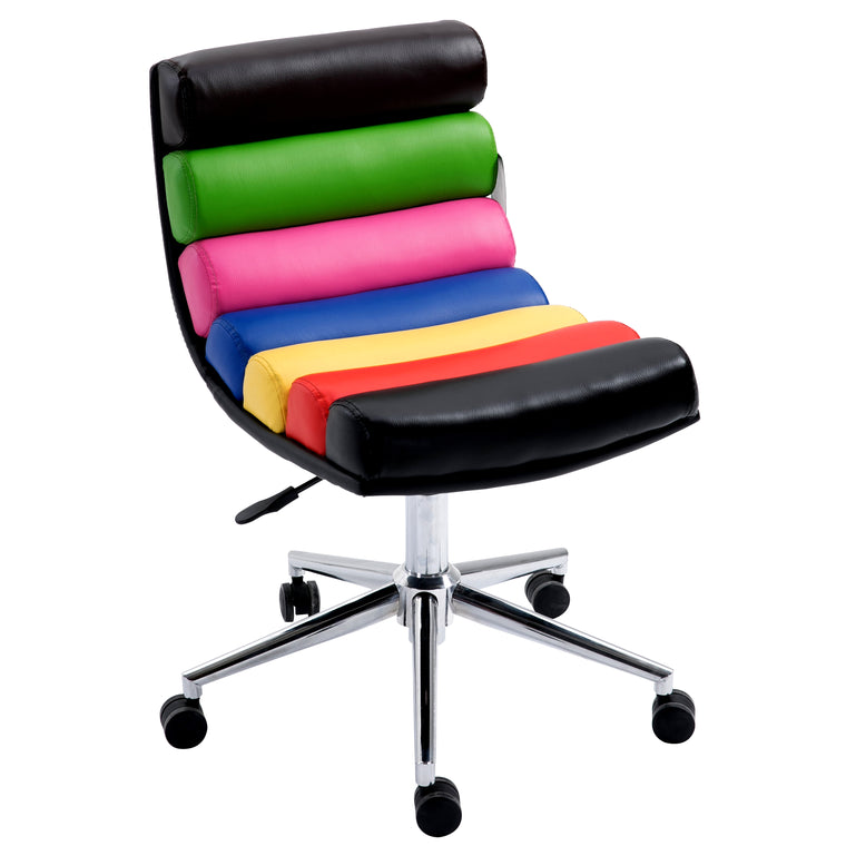 Rainbow Faux Leather Chrome Base Desk Chair, Multi-colour