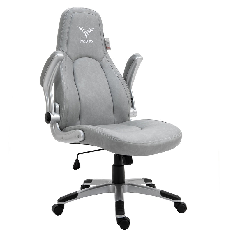 VIRIBUS X3 Faux Leather Gaming Chair with Adjustable Arms in Grey 2