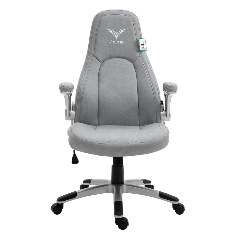 VIRIBUS X3 Faux Leather Gaming Chair with Adjustable Arms in Grey 3