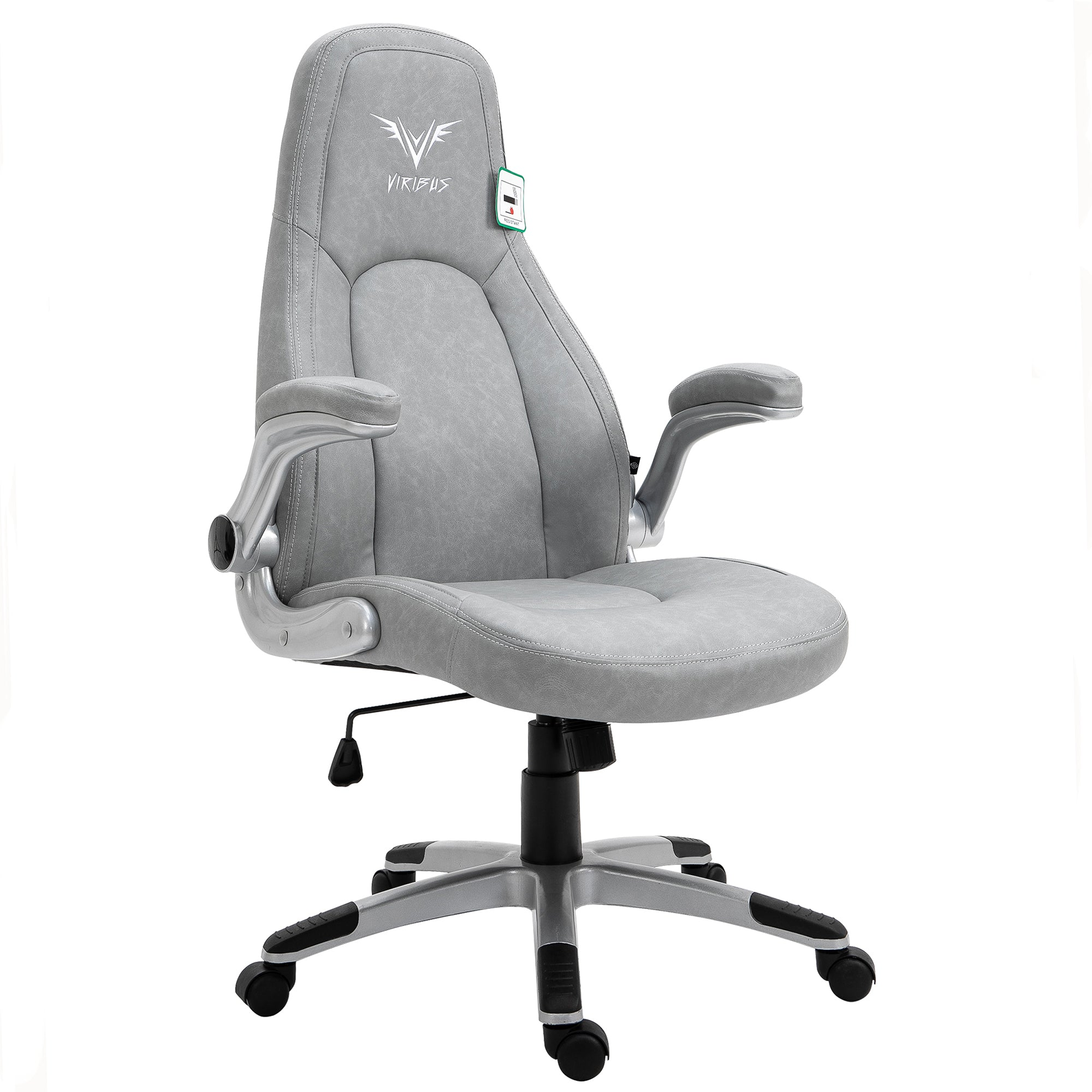VIRIBUS X3 Faux Leather Gaming Chair with Adjustable Arms in Grey 10