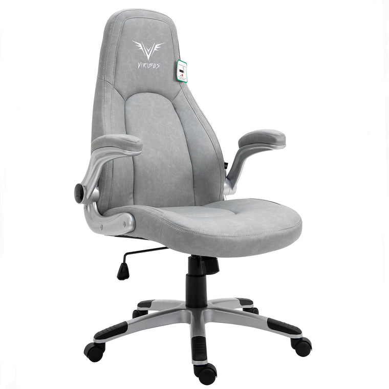 VIRIBUS X3 Faux Leather Gaming Chair with Adjustable Arms in Grey