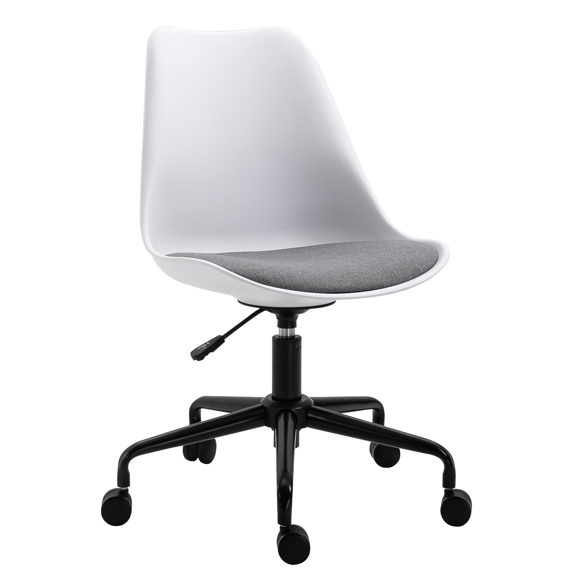 Gerri Swivel Office Chair with Upholstered Seat White