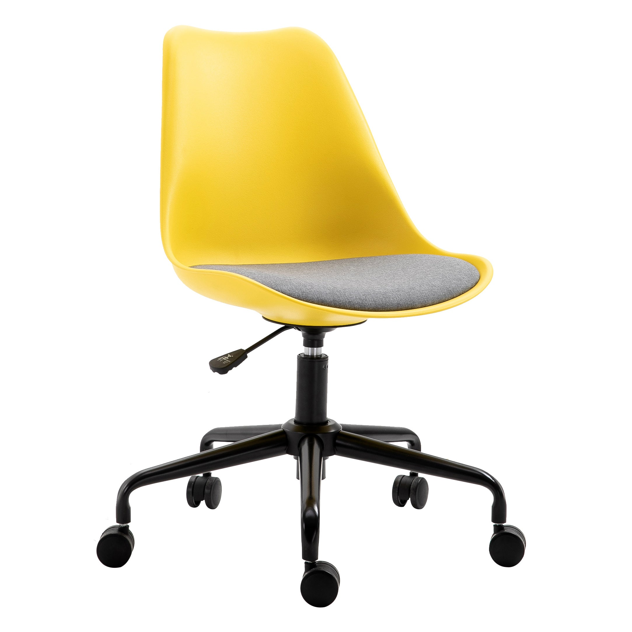 Gerri Swivel Office Chair with Upholstered Seat Yellow