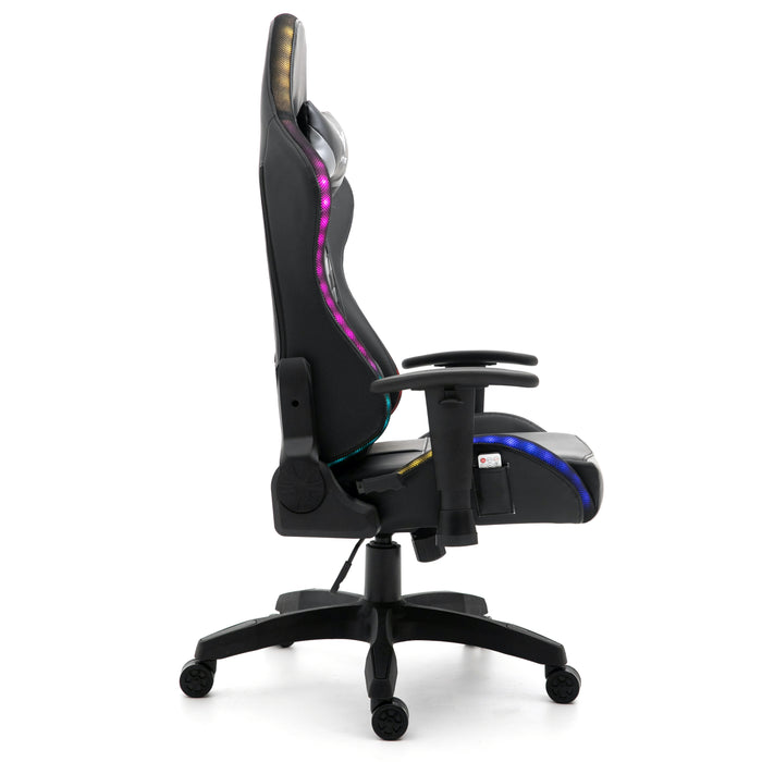 VIRIBUS X1 Office Gaming Chair with 12-Colour LED Lights, Black and Grey