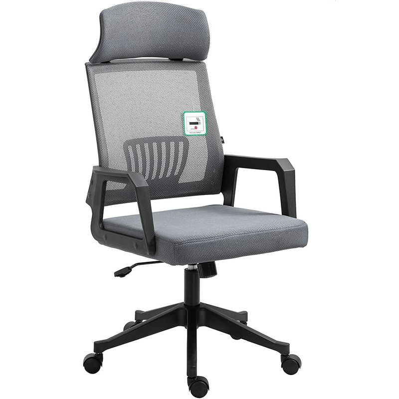 Beni Mesh Fabric Swivel Office Chair with Headrest Grey - DaAl's