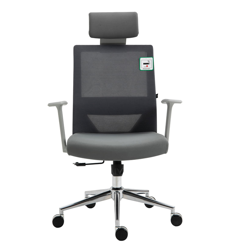 Joni High Back Mesh Office Chair with Headrest in Grey 2