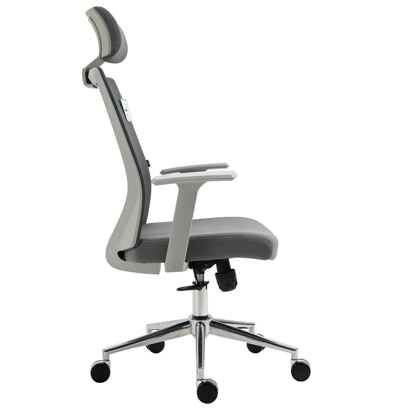 Joni High Back Mesh Office Chair with Headrest in Grey 3