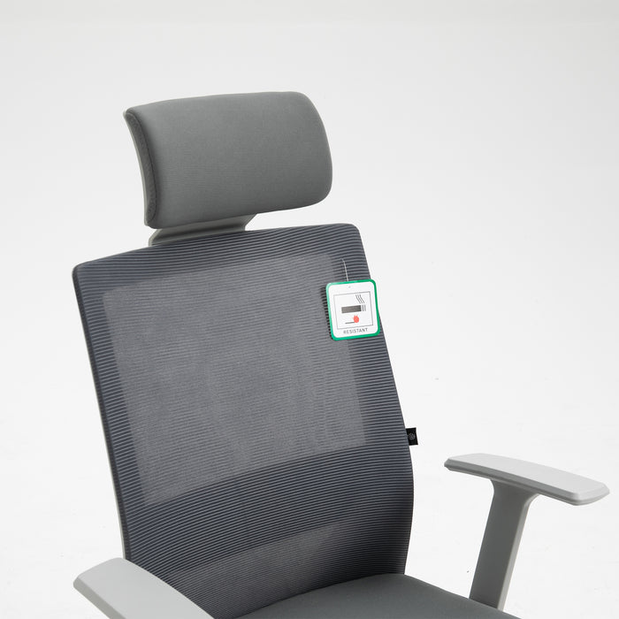 Joni High Back Mesh Office Chair with Headrest in Grey 6