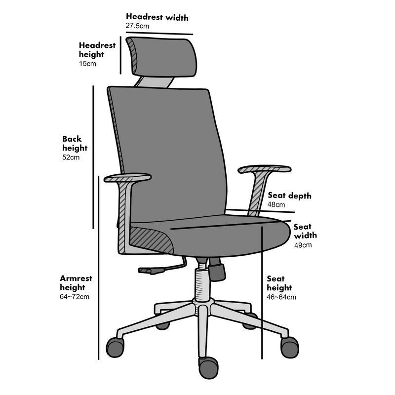 Joni High Back Mesh Office Chair with Headrest in Grey 5