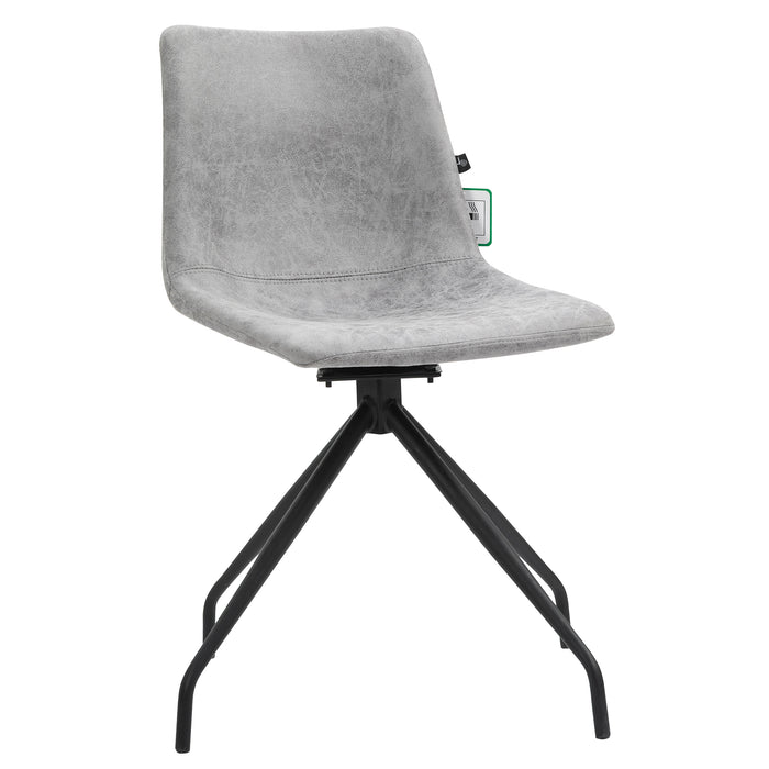Florian Pair of Leather Effect Microfibre Dining Chairs in Grey 2