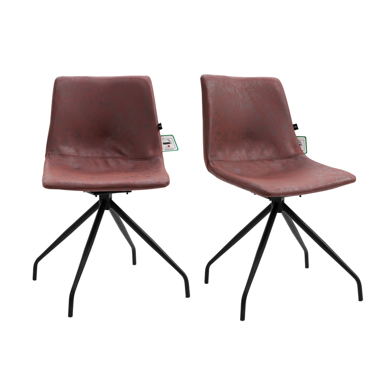 Florian Pair of Leather Effect Microfibre Dining Chairs in Brown