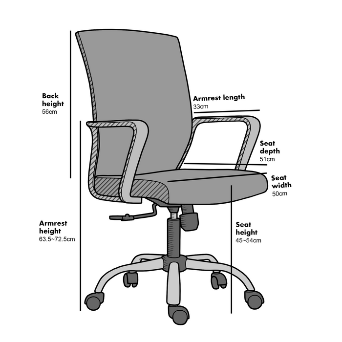 Haru Mid Back Mesh Office Chair in Grey 5