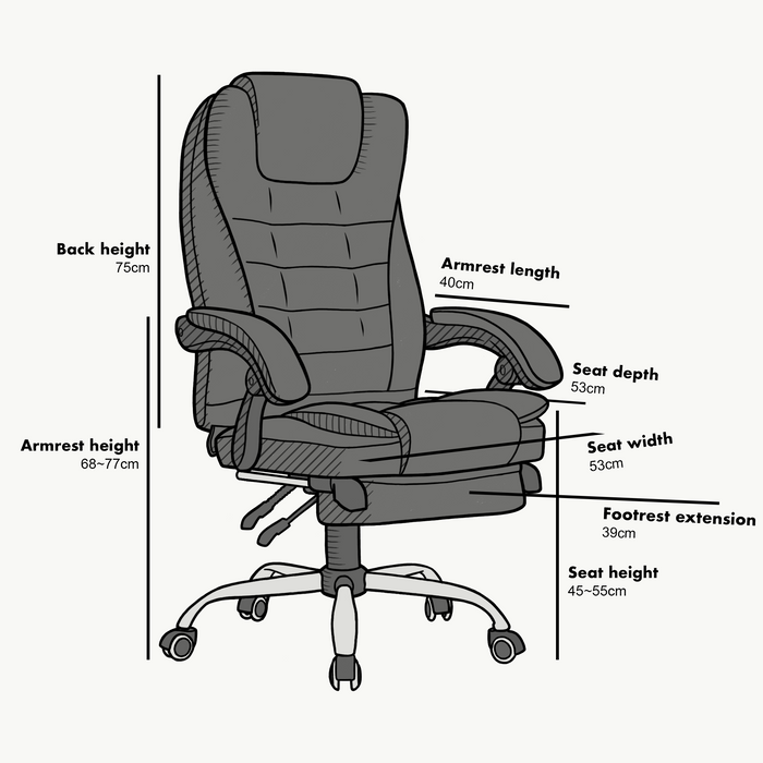 Executive Reclining Computer Desk Chair with Footrest, Headrest and Lumbar Cushion Support Furniture, MR34 Grey Fabric