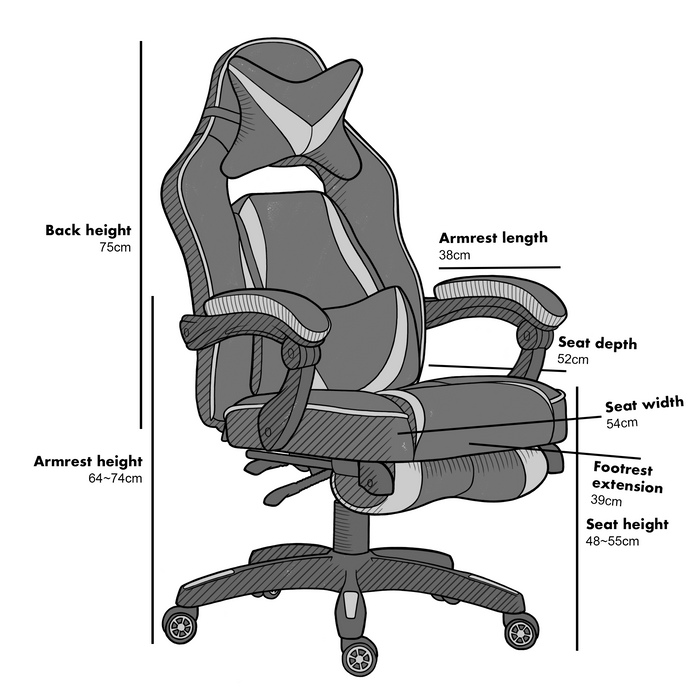 High Back Recliner Gaming Swivel Chair with Footrest & Adjustable Lumbar & Head Cushion, MR49 Black & White