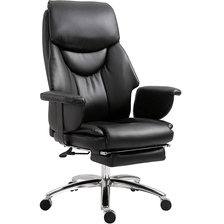 Abraham Wingback Style Office Chair with Footrest in Black PU Leather