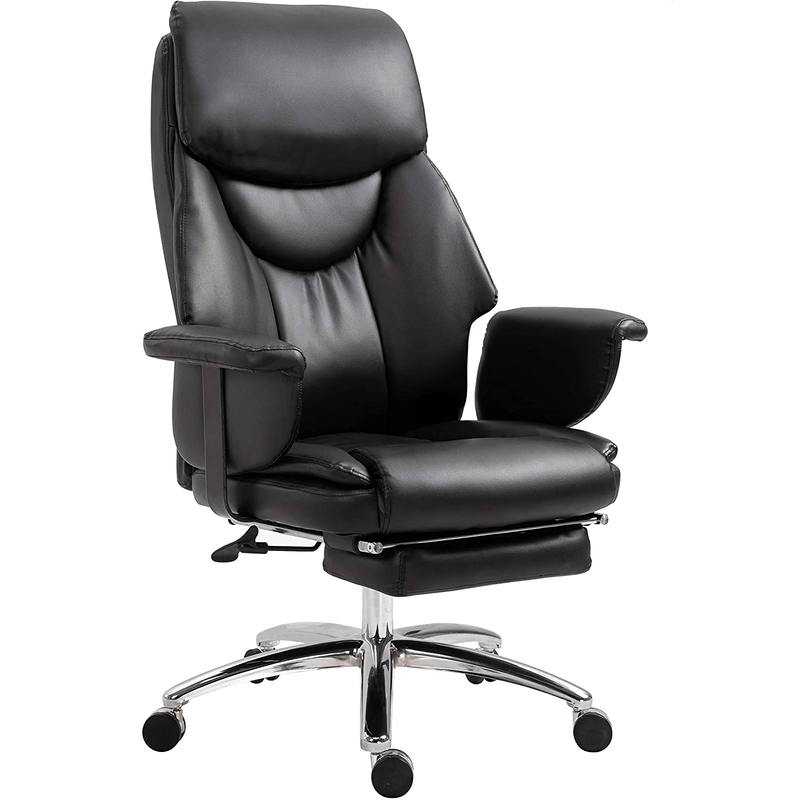 Abraham Wingback Style Office Chair with Footrest in Black PU Leather - DaAl's