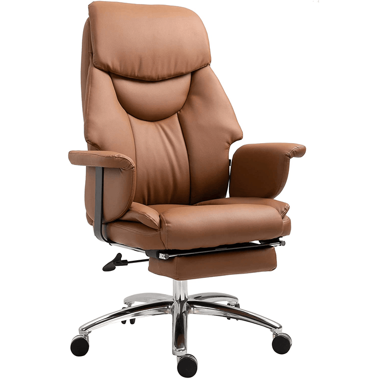 Abraham Wingback Style Office Chair with Footrest in Brown PU Leather