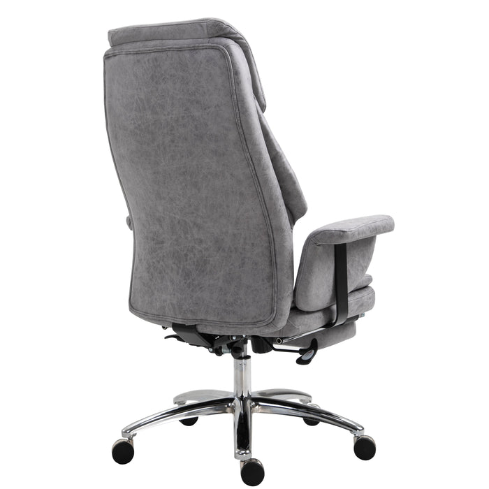 Abraham Wingback Style Office Chair with Footrest in Grey Vintage PU Leather - DaAl's