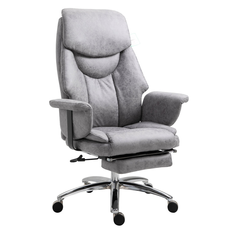 Abraham Wingback Style Office Chair with Footrest in Grey Vintage PU Leather