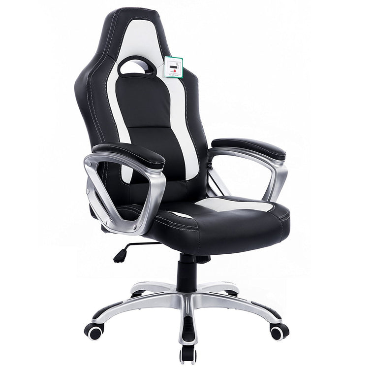 DaAls Racing Sport Swivel Office Chair in Black & White