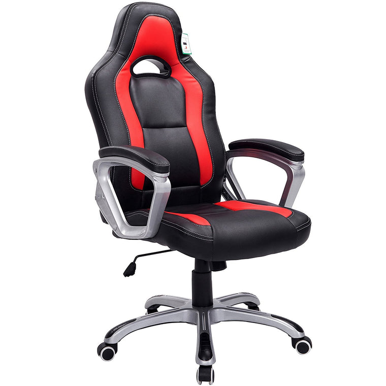 DaAls Gaming Chair Racing Sport Style Swivel Office Chair in Black & Red