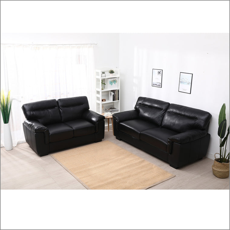 Meriden 3+2-Seater Sofas Set, Black