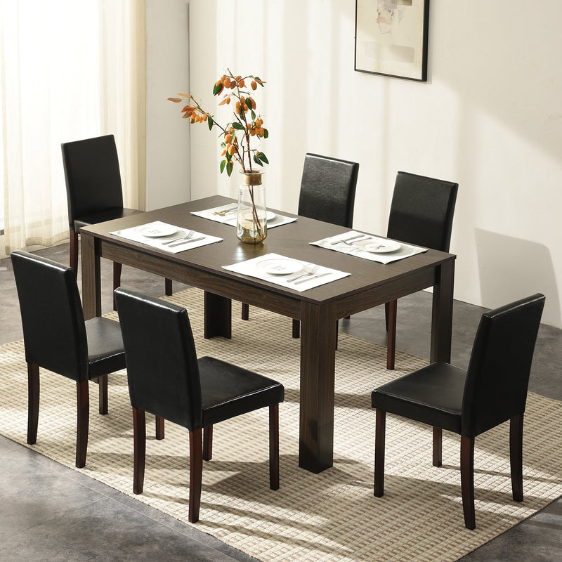7 Piece Dining Room Set Dining Table with 6 Chairs Walnut Effect 2