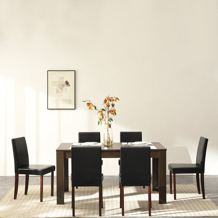 7 Piece Dining Room Set Dining Table with 6 Chairs Walnut Effect 3