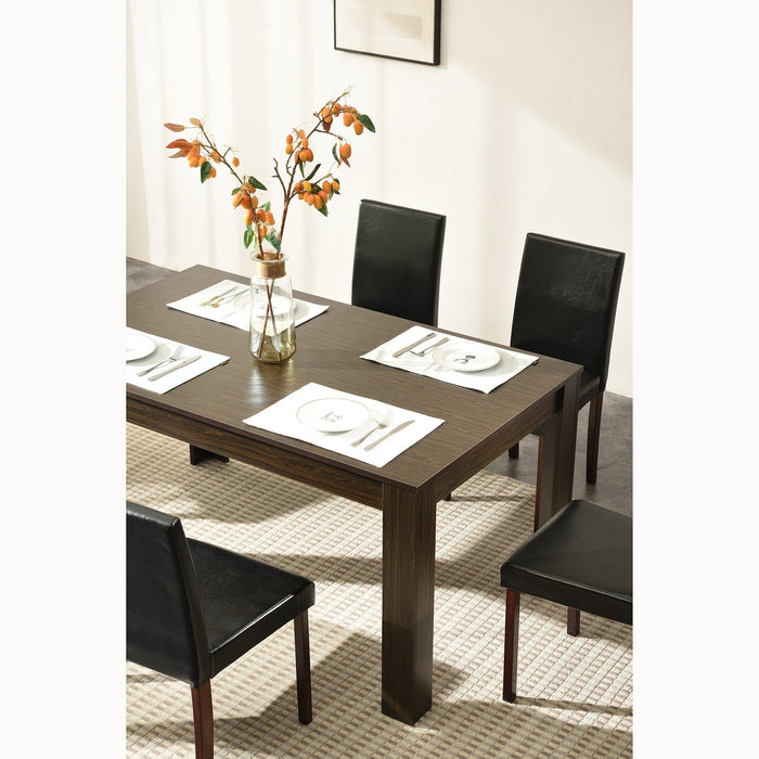 7 Piece Dining Room Set Dining Table with 6 Chairs Walnut Effect 4