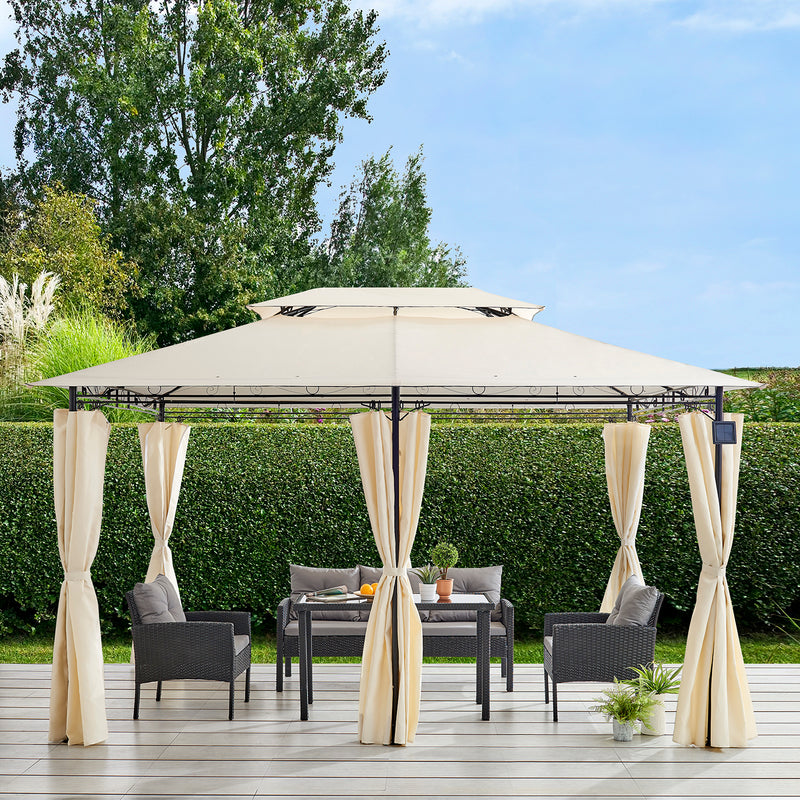 St Lucia 3 x 4m Gazebo with Curtains Canopy Party Tent with 60pcs Solar LED Lights in Beige 3