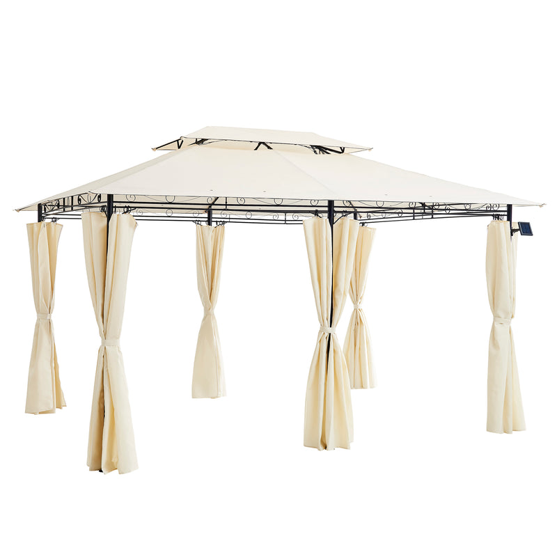 St Lucia 3 x 4m Gazebo with Curtains Canopy Party Tent with 60pcs Solar LED Lights in Beige 4