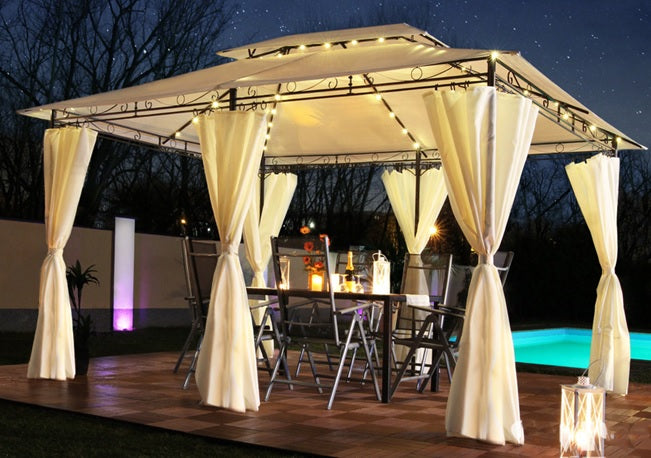 St Lucia 3 x 4m Gazebo with Curtains Canopy Party Tent with 60pcs Solar LED Lights in Beige 2