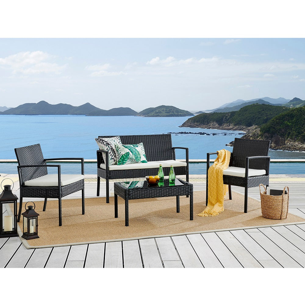 Polperro 4 Seater Rattan Effect Sofa Set Black 1