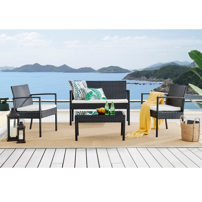 Polperro 4 Seater Rattan Effect Sofa Set Black