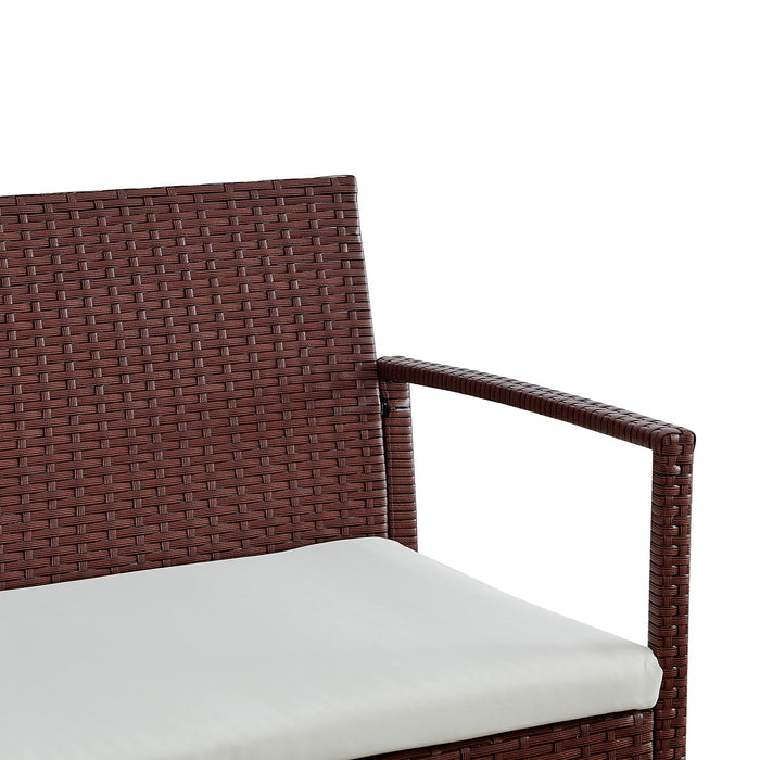 Polperro 4 Seater Rattan Effect Sofa Set Brown