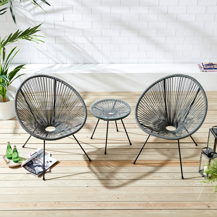 Konya 2 Seater Rattan Bistro Table and Chair Set in Grey 2