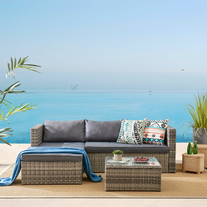 Troy 3 Piece Garden Sofa Set with Table in Grey 2