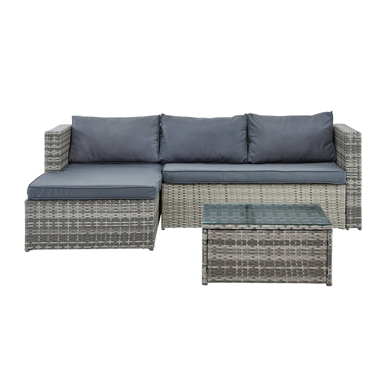 Troy 3 Piece Garden Sofa Set with Table in Grey 3