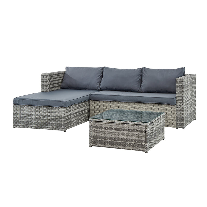 Troy 3 Piece Garden Sofa Set with Table in Grey 4